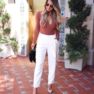 VICI white belted elastic waist pants